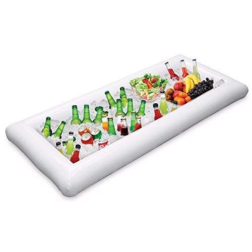 EVINIS 1 Stücke Aufblasbare Buffet serviert & Salat Bar Eis Eimer Essen Kühler Aufblasbare Bier trinken Tablett, Essen trinken Halter BBQ Picknick Pool, mit Ablaßschraube