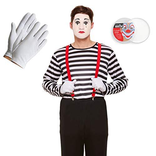 French Mime Set für Erwachsene, Oberteil, Hosenträger, Handschuhe und Gesichtsbemalung, 4-teilig