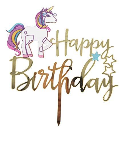 (Einhorn Happy Birthday Tortenaufsatz, bunt, Acryl, unikron Geburtstag Twinkle DIY Glitzer 1. Geburtstag Cupcake Topper Cake Smash Candle Alternative Party Handarbeit)