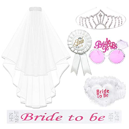 REKYO 6PCS Hen Night Party Accessories Bride To Be Sash, Sunglasses, Tiara With Veil, Badge And Garter For Hen Do Party or Stag Night Game Accessory Kit