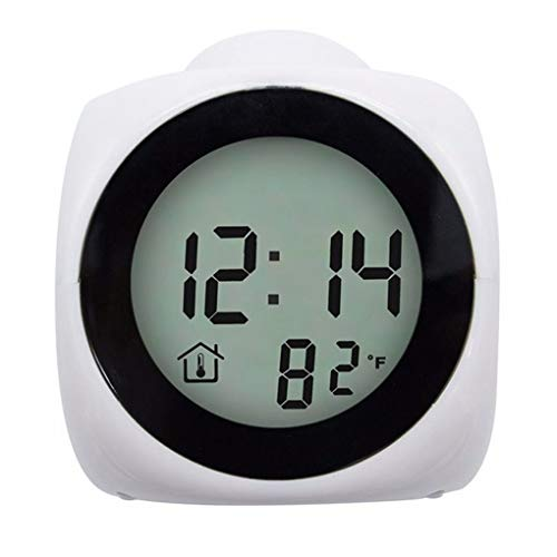 Babysbreath17 Inicio Proyección de Despertador Gran Pantalla de Fecha y Hora Temperatura Proyector Digital de luz de Fondo de Colores Reloj de Mesa White 9 * 9 * 10.5cm