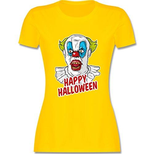 Halloween - Happy Halloween - Clown - L - Gelb - L191 - Damen T-Shirt ()