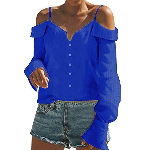 MORCHAN  Champion Chemisier Femme Chic Casual Épaule Manches Longues Col V Mousseline Tops Blouse Mode Sweat Sweatshirt Veste Chemise T-Shirt Hauts Fluide Manteau(FR-48/CN-2XL,Bleu)