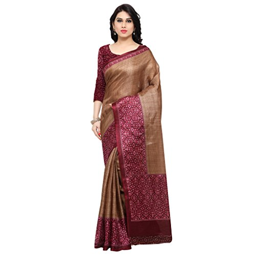 Rajnandini Women's Tassar Silk Saree With Blouse Piece (Joplnb6001C, Red And Brown,...