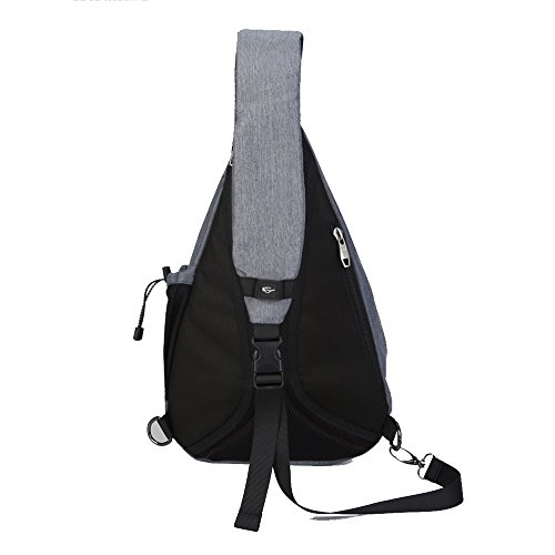 Männer Frauen Segeltuch beiläufige Daypack Sling Bag Umhängetasche Brusttasche Unbalance Gym Rucksack Schulranzen für Reisen Outdoor Radsport (L, Schwarz) Grau