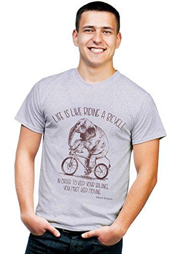 Aufschrift Life is Like Riding a Bicycle Biker - Grau - Mittel ()