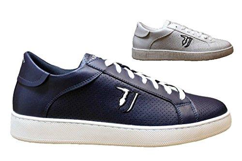 Trussardi Jeans Scarpe Uomo Sneaker Ecopelle Traforato Col. Bianco US18TJ06 Bianco