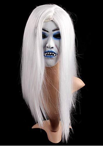 XBYUK Gruselige blutende Hexenmaske aus weißem Haar aus Latex, gruselige Halloween-Party-Requisiten von Toothy - Ted Für Erwachsene Kostüm Hat