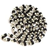 BM Jewellers 925 Pure Silver And 100% Pure Tulsi Kanthi Black Mala in Silver Capping for Men/Women Quantity-1 (5mm)