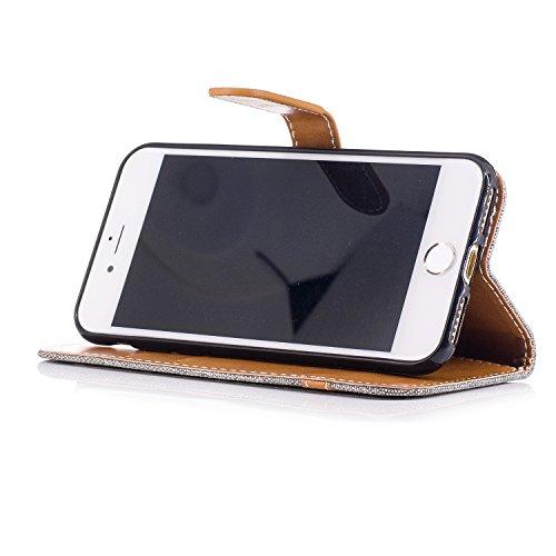 Custodia per Apple iPhone 7, ISAKEN iPhone 7 Flip Cover con Strap, Elegante Bookstyle Contrasto Collare PU Pelle Case Cover Protettiva Flip Portafoglio Custodia Protezione Caso con Supporto di Stand / Marrone+grigio
