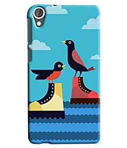Blue Throat Two Ducks Sitting On Shoes Printed Designer Back Cover For HTC Desire 820