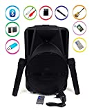 Qualimate 12 inch Karaoke Bluetooth PA System Portable Trolley Speaker with 2 Wireless