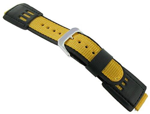 SpeidelHerren 16mm Nylon / Lederband passt Casio Gshock (G-shock-watch-gelb Und Schwarz)