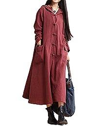 SODIAL Vestido Maxi Con Capucha de Manga Larga de O Cuello Vintage de Mujer Chaqueta Abrigo