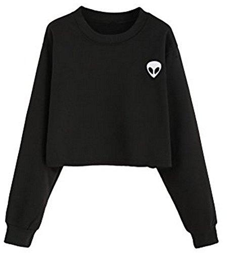Lannorn Damen Langarm sweatshirt mit kapuze, Alien Druck Casual Cropped Pullover Crew Neck Hoodie Jumper Mittel / Kurz Zwei Stil. (Notre-dame-sweatshirts)