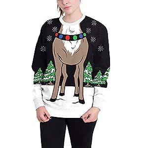 Damen Weihnachtspullover Rundhals Langarm Christmas Sweater 3D Drucken Sweatshirt Neuheit Kontrastfarbe Top