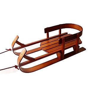 ZYT Klassischer Hörner-Schlitten Rodel 92 cm Lang Stabiles Buchenholz Belastbar Bis 40 Kg Mit Zuggurt Und Sicherheits-Rückenlehne