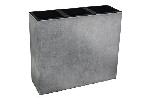VIVANNO Pflanzkübel Raumteiler Sichtschutz Fiberglas Beton-Design Grau ELEMENTO 75x88x30