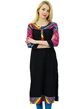 Phagun Mujeres sólido patrón de algodón Kurti diseñador Kurta étnico del vestido ocasional
