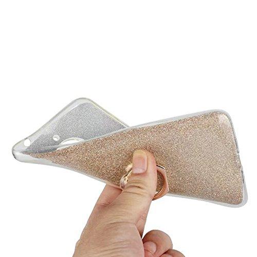 Soft Flexible TPU Back Cover Case Shockproof Schutzhülle mit Bling Glitter Sparkles und Kickstand für MOTO E4 Plus ( Color : Pink ) Black