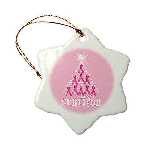ihnachtsbaumschmuck Brustkrebs Pink Ribbon Weihnachtsbaum Survivor Schneeflocke Weihnachten Porzellan Dekoration Geschenk ()