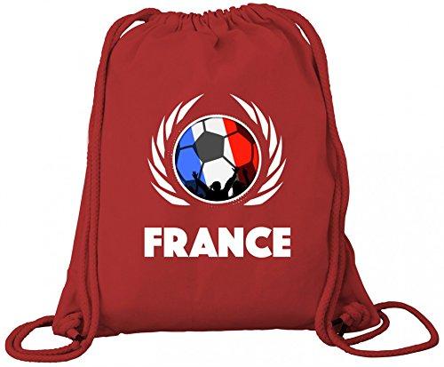 France Fanfest Fussball WM Bio Baumwoll Turnbeutel Rucksack Gym Bag Fußball Frankreich Red