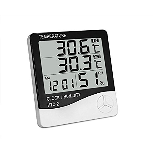STAR Digitale Temperatur Luftfeuchtigkeit Thermometer Home Monitor Indoor Outdoor Meter mit Wecker Datum weiß