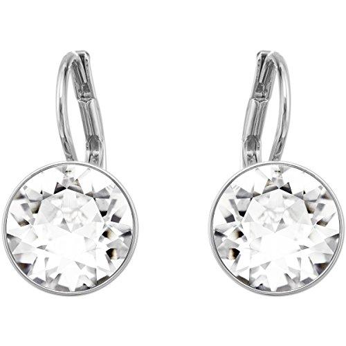 Swarovski Bella Ohrringe für Frauen, weißes Kristall, rhodiniert