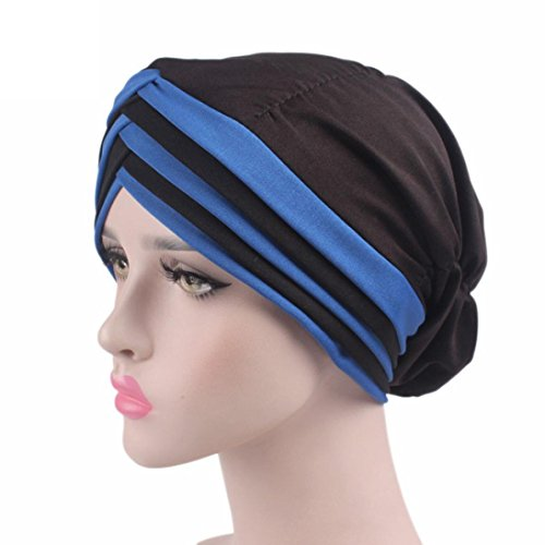 jaminy Krebs Chemo Hut Mütze Beanie Schal Turban Kopf Wrap Cap für Krebs Patienten (Blaue) (Chiffon Bluse Seide Wickel)