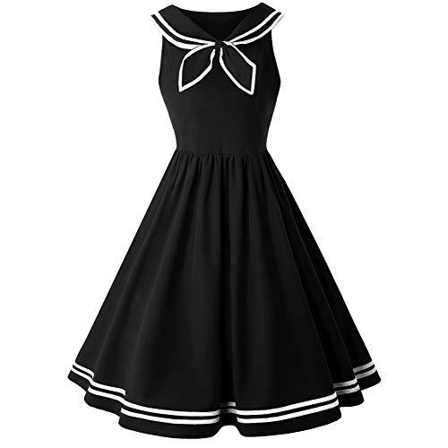 WDBXN New Vintage Dress Frauen Sommer pin up Kleider 50 s Sailor Kragen blau Vintage Kleider für Damen mädchen,Black,M