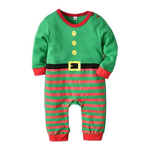 WEIMEITE Weihnachten Baby Jungen Mädchen Lange Strampler Hut Sets Neugeborenen Kleidung Caps Nette Bebe Kleidung Anzug Kostüme Grün 90 cm