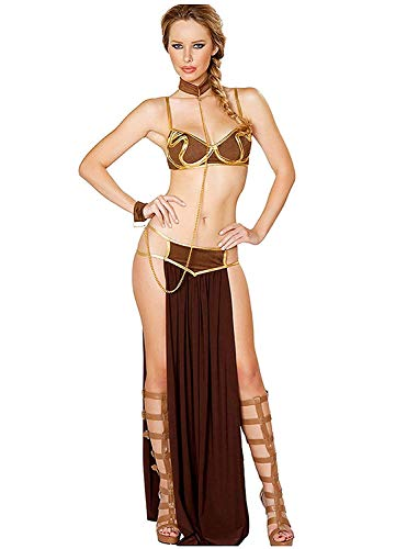 SwissWell Sexy Prinzessin Leia Kostüm Damen Cosplay Slave Ladies Princess Leia Fancy Dress Adults Womens Film Costume Dessous Reizwäsche Lingerie-BH-Rock-Halsband String Set Gold - Womens Sexy Weihnachten Kostüm