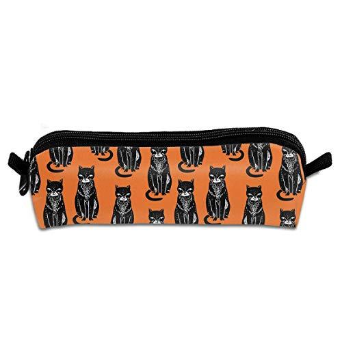 Black Cat Orange Halloween Cat Studenten Leinwand Federmäppchen Federbeutel Etui Stationär (Cat Halloween-make-up Kid)
