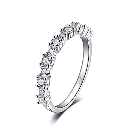 JewelryPalace 925 Sterling Silber Zirkonia Band Ring (Silber Band Damen Ringe)
