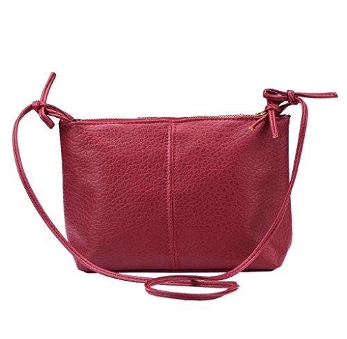 bolsos de las mujeres, FEITONG 1PC faux de las mujeres del bolso de hombro bolsa de cuero mensajero especial bolso (rojo)