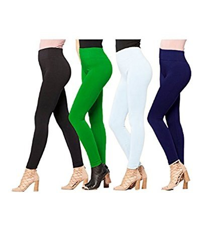 Gopani_Cotton Lycra Leggings for Woman (Pack of 4) (Free Size)