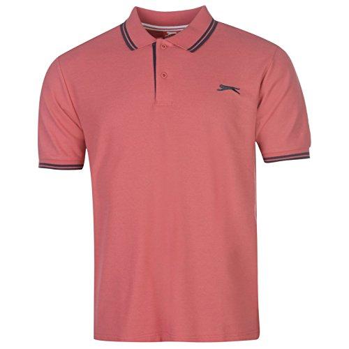 Slazenger Herren Polo Shirt Kurzarm Streifen Details Slate Pink L