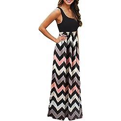 Vestidos Largos, JYC Vestidos Mujer Verano 2018 Mujer Rayado largo Boho Vestido Lady Beach Verano Sundress Maxi Vestido de talla grande Vestidos Largos de Fiesta (M, Negro)