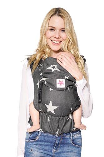 Babytrage KOKADI® Flip Diorite Stars - Kleinkinder ab 2 Jahren. Ergonomisch, Steg verstellbar ✓ Rücken, Vorne, Seite ✓ Sommer & Winter ✓ Zertifiziert ✓ Tragetuchstoff ✓ GRATIS Beutel
