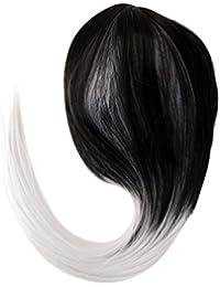 Damen Gerade Synthetische Perücke Ombre Farbe Schwarz Gemischt Grau Faser Perücke 65cm