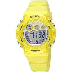 OHSEN Kids Multifunction Sport Watch Digital Backlight Wristwatch Waterproof 1508 - Yellow