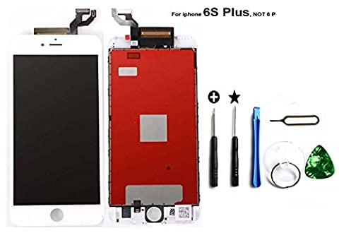 iPhone 6S Plus LCD Display Touch Digitizer Screen Replacement Assembly with Tools Kit (white)