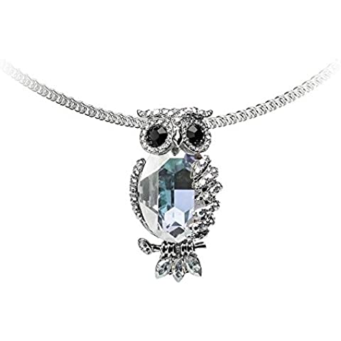 Collana del gufo di Aurora Borealis cristallo Swarovski Elements - Blue Pearls - CRY D213 B