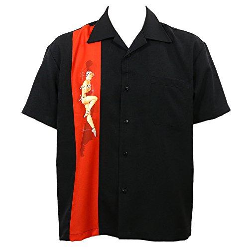 Rock Steady Black Pinup Girl Bowling Camp Lounge Shirt Retro 50er 50er Jahre One Panel - Schwarz - XXX-Large