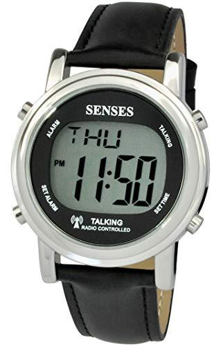 Reloj Digital inglés de Gran dígitos atómico con Alarma Fuerte para Personas con discapacidad Visual...