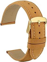 WOCCI 21mm Correa Reloj Vintage de Cuero, Compatible con Relojes Tradicionales e Inteligentes, Recambio Unisex (Marrón Claro)