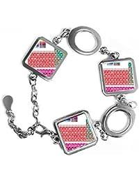Cute sucinta Color Chemistry tabla periódica de forma cuadrada de metal pulsera amor Regalos Joyería con