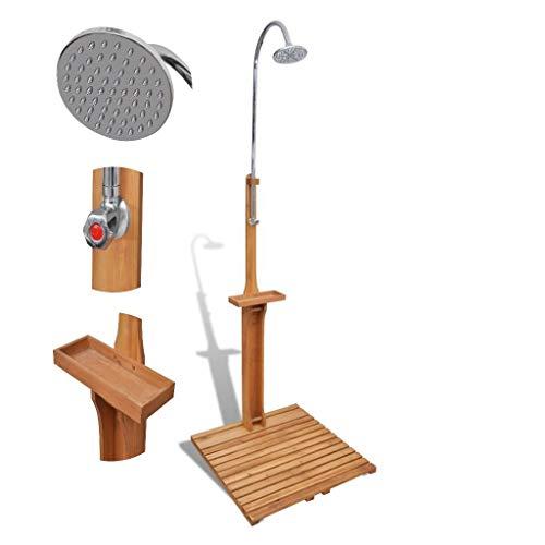 WT Trade Premium Campingdusche Pooldusche aus Holz für Den Garten | witterungsbeständig | Gartendusche Aussendusche Outdoordusche Regendusche