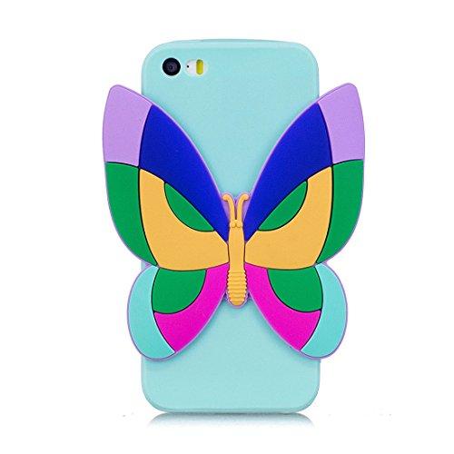 iPhone SE 5S 5C 5G Custodia, case Paraurti dassorbimento con TPU Back-Anti-Scratch Cover ( 3D Cartoon Ananas + giallo ) iPhone SE 5S 5C 5G Copertura Shell blu 2
