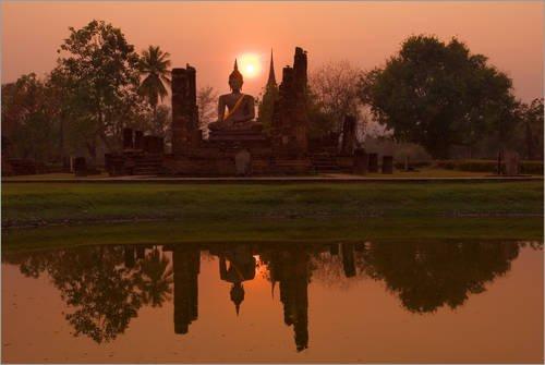 Posterlounge Alubild 180 x 120 cm: Wat Mahathat, Sukhothai Historical Park, UNESCO World Heritage Site, Sukhothai Province, Thailand, S von Robert Harding -